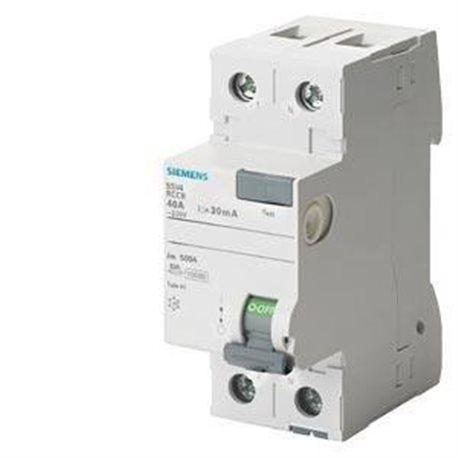 Interruptor diferencial clase-a 2 polos 40a 300ma 70mm Siemens 5sv